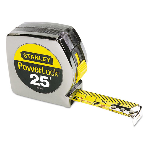 Powerlock II Power Return Rule, 1 x 25ft, Chrome/Yellow