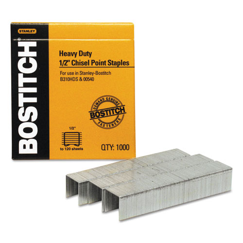 Heavy-Duty Premium Staples, 0.5 Leg, 0.5 Crown, Steel, 1,000/Box