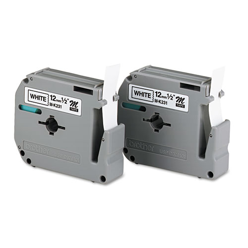 """M Series Tape Cartridges for P-Touch Labelers, 0.47"""" x 26.2 ft, Black on White, 2/Pack"""