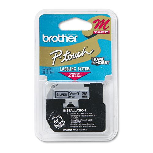 M Series Tape Cartridge for P-Touch Labelers, 0.35 x 26.2 ft, Black on Silver