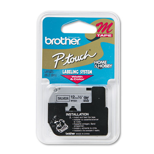 "Brother P-Touch® M Series Tape Cartridge for P-Touch Labelers, 1/2""w, Black on Silver"