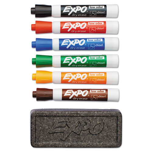 Low-Odor Dry Erase Marker & Organizer Kit, Broad Chisel Tip, Assorted Colors, 6/Set | by Plexsupply