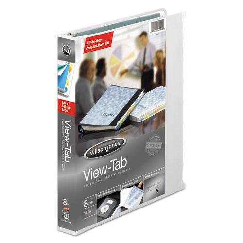 Wilson jones - view-tab round ring presentation binder, 8-tab style, 1-inch capacity, white, sold as 1 ea