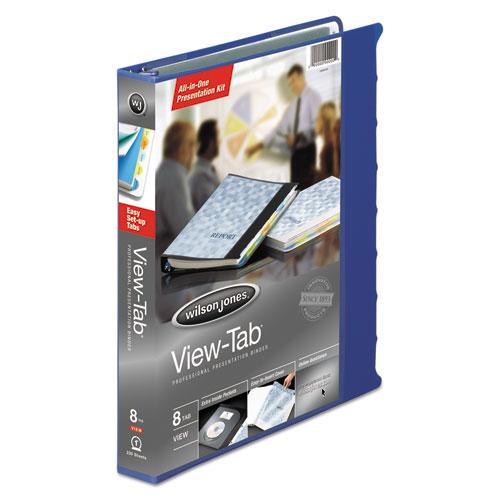 Wilson jones - view-tab round ring presentation binder, 8-tab style, 1-inch capacity, blue, sold as 1 ea