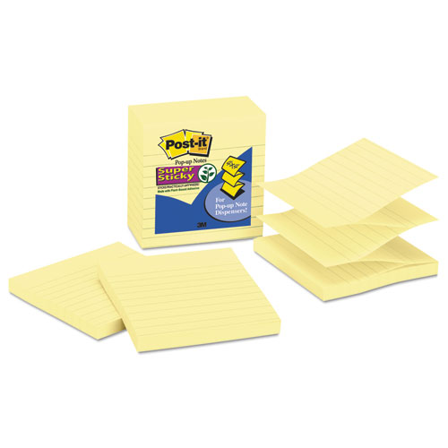 Pop-up Notes Refill, Lined, 4 x 4, Canary Yellow, 90-Sheet, 5/Pack | by Plexsupply
