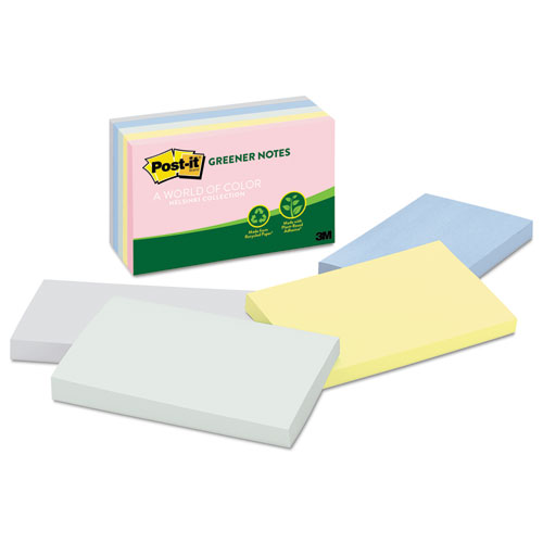 Post-it® Greener Notes Recycled Note Pads, 3 x 5, Assorted Helsinki Colors, 100-Sheet, 5/Pack