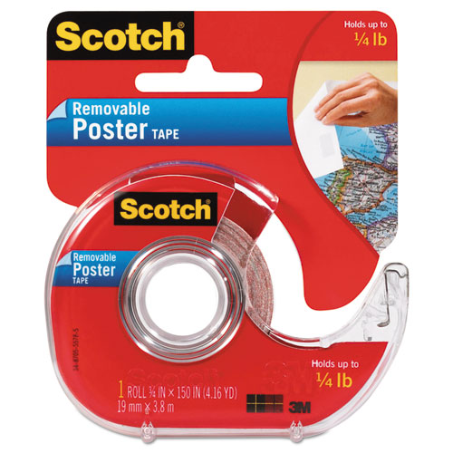 """Wallsaver Removable Poster Tape, 1"""" Core, 0.75"""" x 12.5 ft, Clear 
