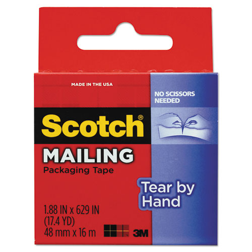 "Tear-By-Hand Packaging Tapes, 1.5"" Core, 1.88"" x 17.5 yds, Clear 