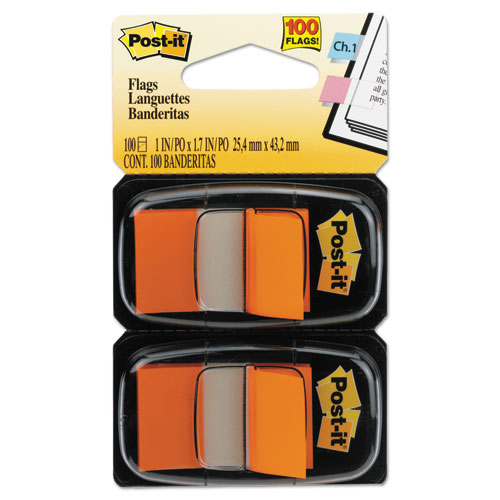 Standard Page Flags in Dispenser, Orange, 100 Flags/Dispenser | by Plexsupply