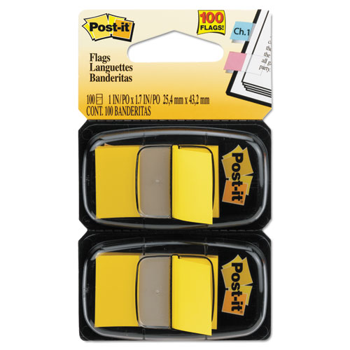 Standard Page Flags in Dispenser, Yellow, 100 Flags/Dispenser | by Plexsupply