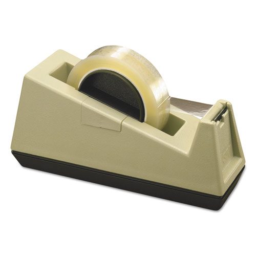 Heavy-Duty Weighted Desktop Tape Dispenser, 3 Core, Plastic, Putty/Brown