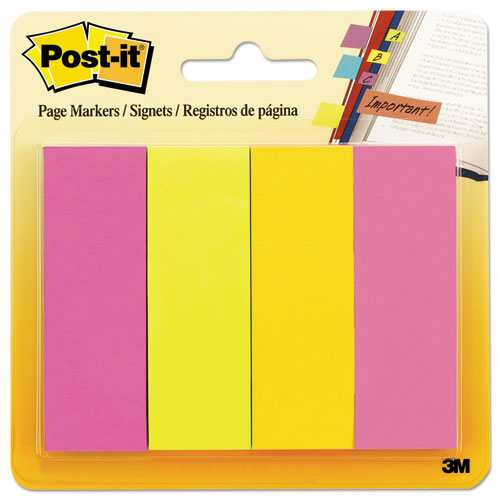 Page Flag Markers, Assorted Brights, 50 Strips/Pad, 4 Pads/Pack