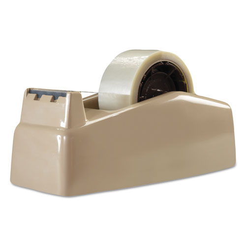 Two-Roll Desktop Tape Dispenser, 3 Core, High-Impact Plastic, Beige