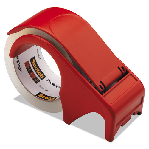 Compact and Quick Loading Dispenser for Box Sealing Tape, 3 Core, Plastic, Red