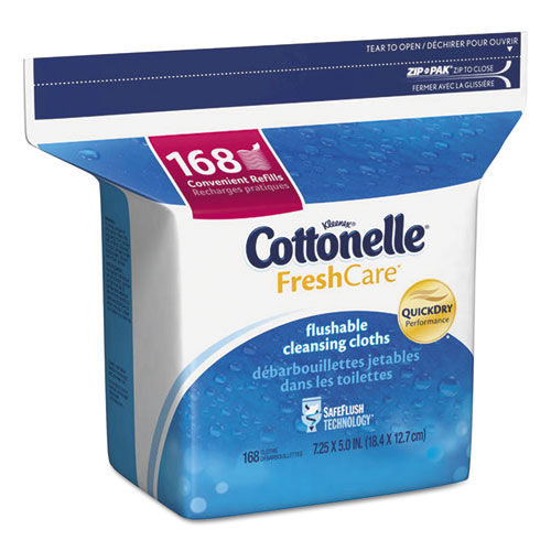 Cottonelle® Fresh Care Flushable Cleansing Cloths, White, 5 x 7 1/4, 168/Pack