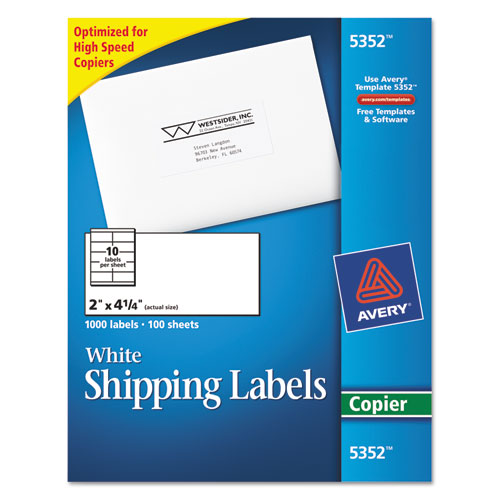 Avery® Copier Shipping Labels, 2 x 4 1/4, White, 1000/Box
