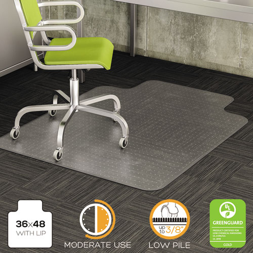 DuraMat Moderate Use Chair Mat, Low Pile Carpet, Flat, 36 x 48, Lipped, Clear