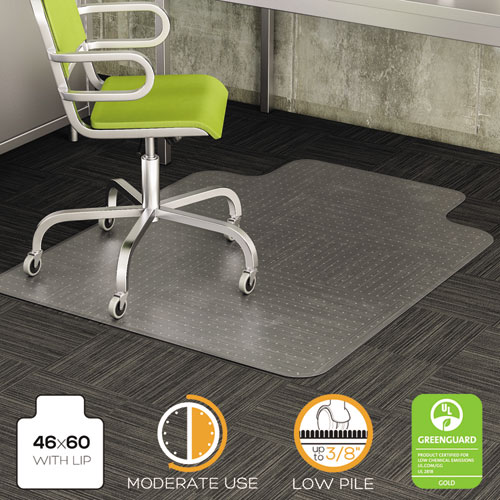 DuraMat Moderate Use Chair Mat for Low Pile Carpet, 46 x 60, Wide Lipped, Clear