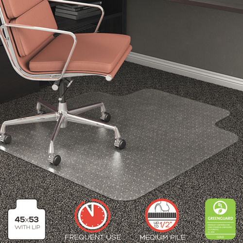 RollaMat Frequent Use Chair Mat, Med Pile Carpet, Flat, 45 x 53, Wide Lipped, Clear