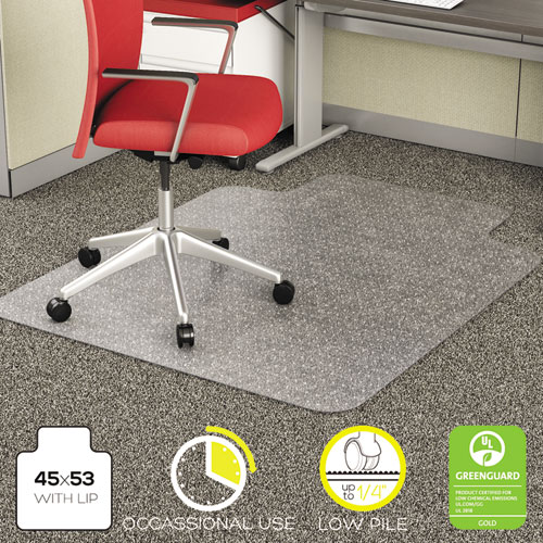 EconoMat Occasional Use Chair Mat for Low Pile Carpet, 45 x 53, Wide Lipped, Clear
