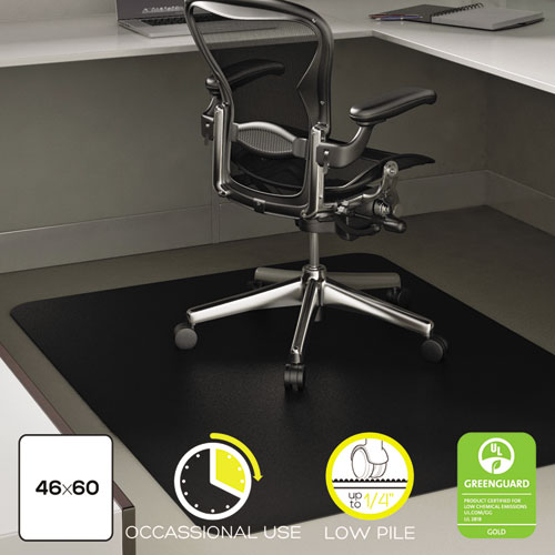 EconoMat Occasional Use Chair Mat for Low Pile Carpet, 46 x 60, Rectangular, Black | by Plexsupply