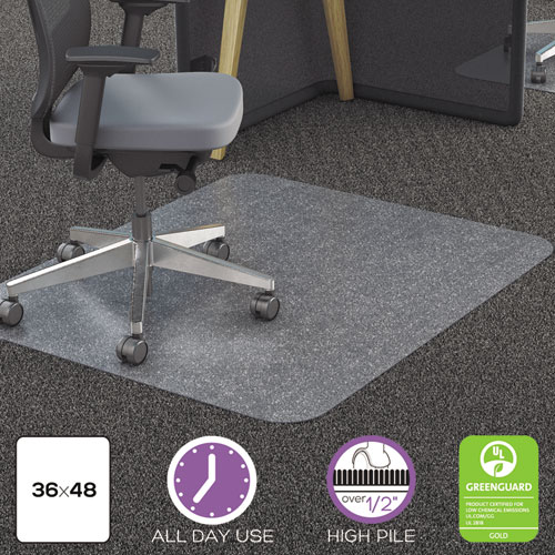 Polycarbonate All Day Use Chair Mat - All Carpet Types, 36 x 48, Rectangular, CR