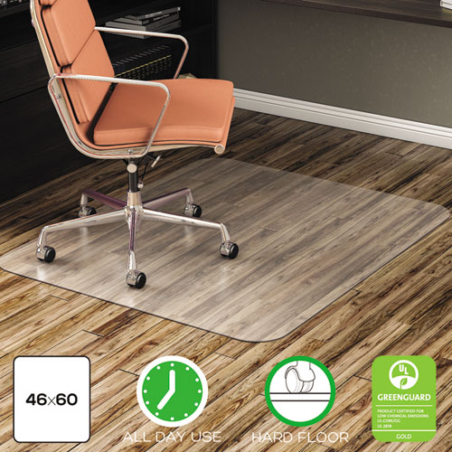 deflecto® EconoMat All Day Use Chair Mat for Hard Floors, 46 x 60, Rectangular, Clear