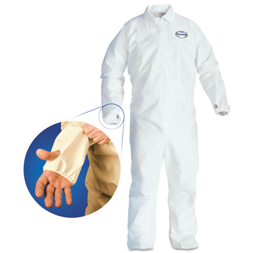 A40 Breathable Back Coverall with Thumb Hole, White/Blue, X-Large, 25/Carton