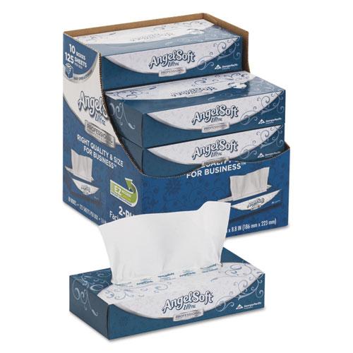 ps Ultra Facial Tissue, 2-Ply, White, 125 Sheets/Box, 10 Boxes/Carton