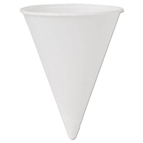 Cone Water Cups, Cold, Paper, 4oz, White, 200/Pack | by Plexsupply
