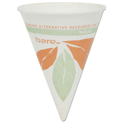 Bare Eco-Forward Paper Cone Water Cups, 4oz, White, 200/Pack, 25 Packs/Carton 4BRBB