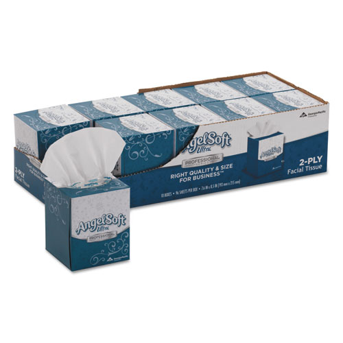 ps Ultra Facial Tissue, 2-Ply, White, 96 Sheets/Box, 10 Boxes/Carton
