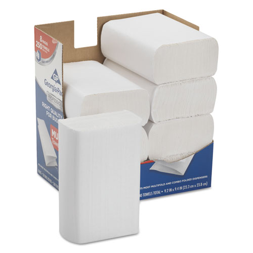 Professional Series Premium Paper Towels,M-Fold,9 2/5x9 1/5, 250/Bx, 8 Bx/Carton | by Plexsupply
