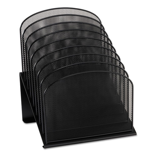 """Onyx Mesh Desk Organizer with Tiered Sections, 8 Sections, Letter to Legal Size Files, 11.75"""" x 10.75"""" x 14"""", Black 