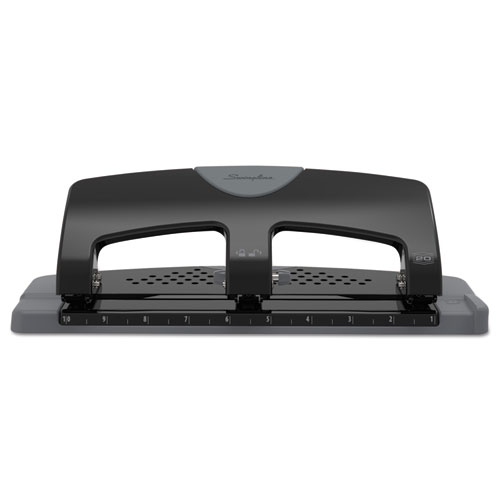 20-Sheet SmartTouch Three-Hole Punch, 9/32 Holes, Black/Gray