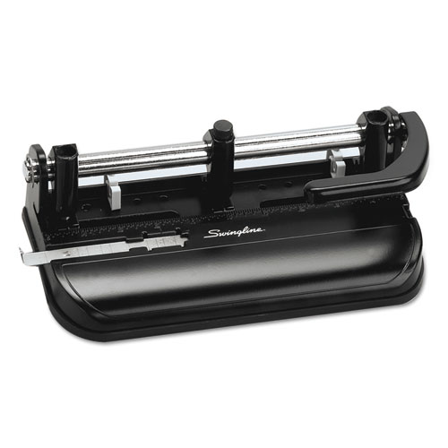 "32-Sheet Lever Handle Two-to-Seven-Hole Punch, 9/32"" Holes, Black 