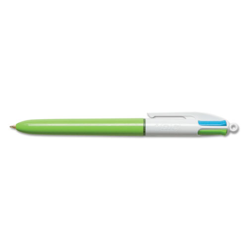 Retractable Ballpoint Pen, 1 mm, Lime/Pink/Purple/Turq Ink, Lime Barrel, 2/Pack