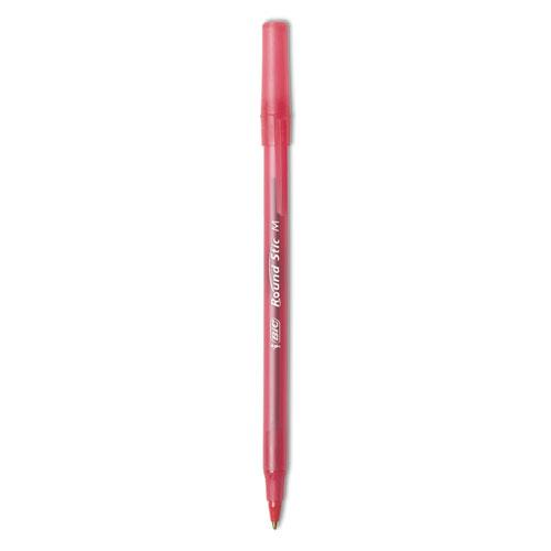 Round Stic Xtra Life Stick Ballpoint Pen, 1 mm, Red Ink, Translucent Red Barrel, Dozen