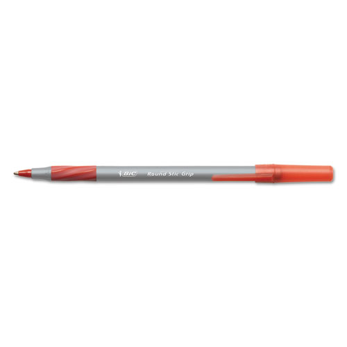 Round Stic Grip Xtra Comfort Stick Ballpoint Pen, 1.2mm, Red Ink, Gray Barrel, Dozen | by Plexsupply