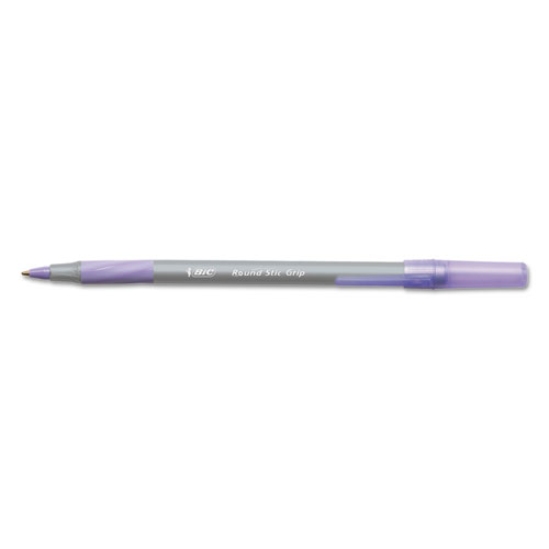 Round Stic Grip Xtra Comfort Stick Ballpoint Pen, 1.2mm, Purple Ink, Gray Barrel, Dozen | by Plexsupply