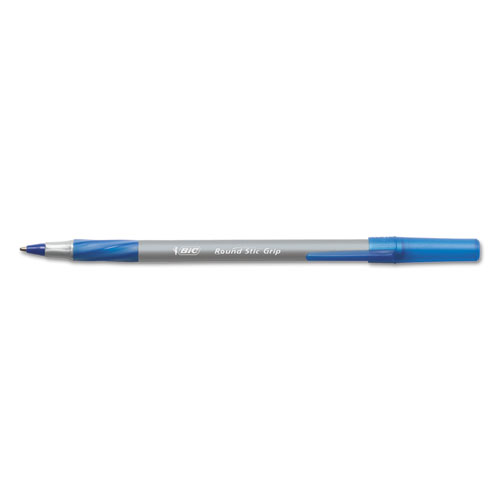 Round Stic Grip Xtra Comfort Stick Ballpoint Pen, 0.8mm, Blue Ink, Gray Barrel, Dozen