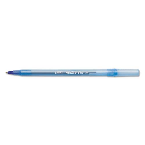 Round Stic Xtra Life Stick Ballpoint Pen, 1mm, Blue Ink, Translucent Blue Barrel, Dozen