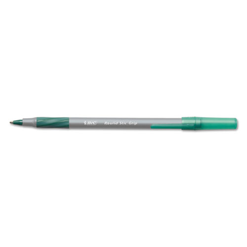 Round Stic Grip Xtra Comfort Stick Ballpoint Pen, 1.2mm, Green Ink, Gray Barrel, Dozen | by Plexsupply