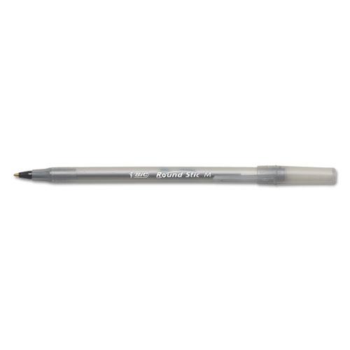 Round Stic Xtra Life Stick Ballpoint Pen, 1 mm, Black Ink, Smoke Barrel, Dozen