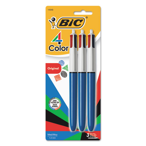 4-Color Retractable Ballpoint Pen, 1mm, Black/Blue/Green/Red Ink, Blue Barrel, 3/Pack