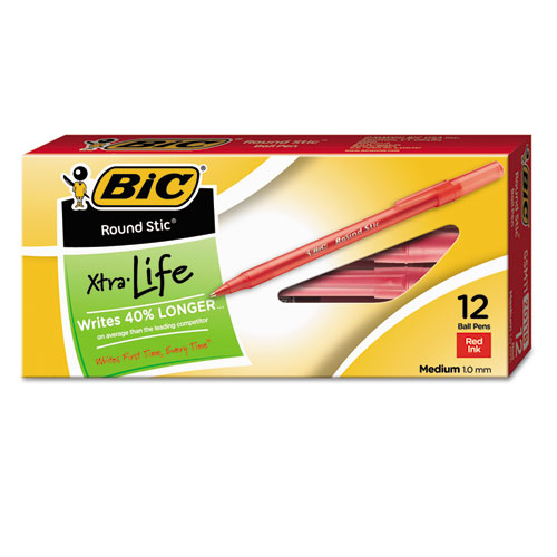 Round Stic Xtra Life Stick Ballpoint Pen, 1mm, Red Ink, Translucent Red Barrel, Dozen