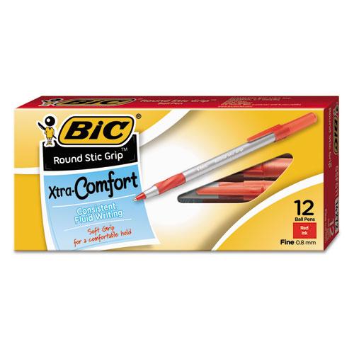 Round Stic Grip Xtra Comfort Stick Ballpoint Pen, 0.8mm, Red Ink, Gray Barrel, Dozen