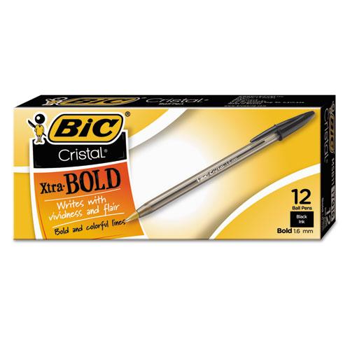 BIC® Cristal Xtra Bold Stick Ballpoint Pen, 1.6mm, Black Ink, Clear Barrel, Dozen