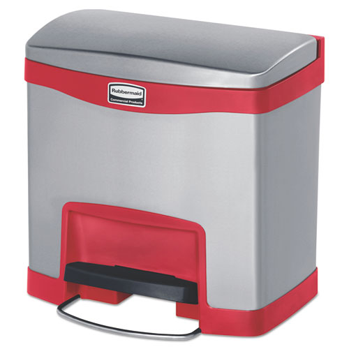 Slim Jim Stainless Steel Step-On Container, Front Step Style, 4 gal, Red