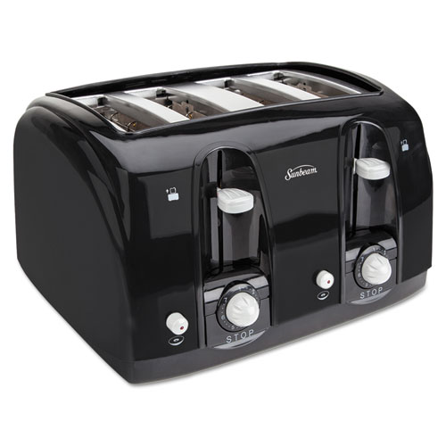 Extra Wide Slot Toaster, 4-Slice, 11 3/4 x 13 3/8 x 8 1/4, Black | by Plexsupply